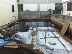 石神井公園の住宅、地下配筋工事1