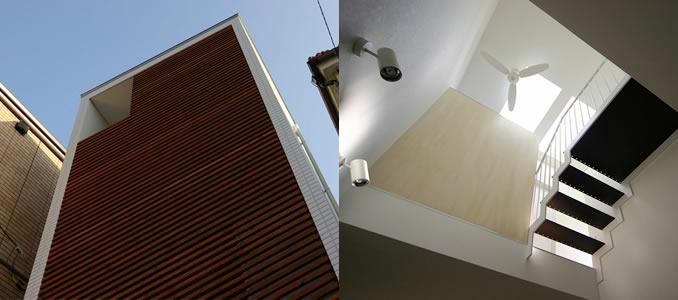 平間の住宅 外観と吹き抜け